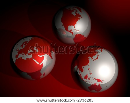 D Globes Showing Major Continents World Stock Photo - Major continents
