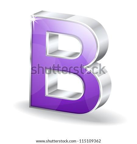 3d Glossy B Alphabet Vector Character - stock photo