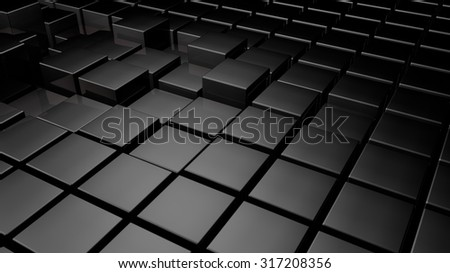 3d glossy black plastic cubes field background - stock photo
