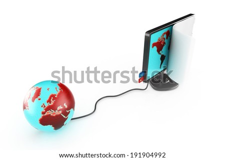3d glossy monitor and shinny planet earth - stock photo