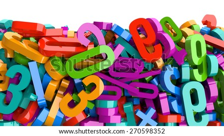 3D glossy plastic numbers of various colors.