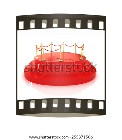 3D glossy podium with gold handrail on a white background. The film strip - stock photo