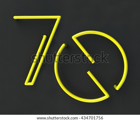 3d glowing Wire Neon Number 70, Seventy, isolated on dark grey background. Anniversary concept. 3d rendering isolated. - stock photo