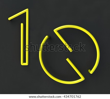 3d glowing Wire Neon Number 10, Ten, isolated on dark grey background. Anniversary concept. 3d rendering isolated. - stock photo