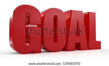 3D Goal text on white background - stock photo