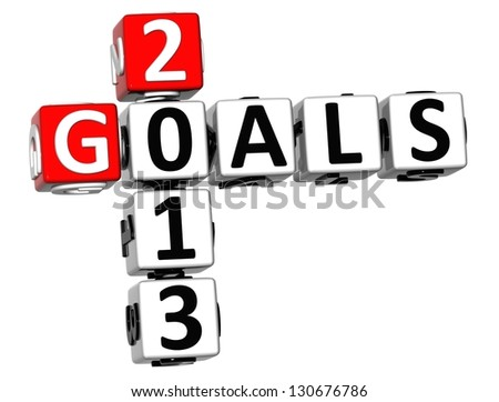 3D Goals 2013 Crossword on white background - stock photo