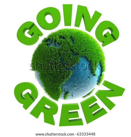 3D going green planet Africa - stock photo