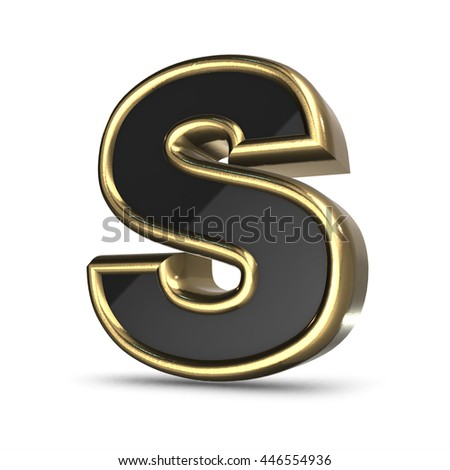 3d gold and black metal letter S isolated white background - stock photo