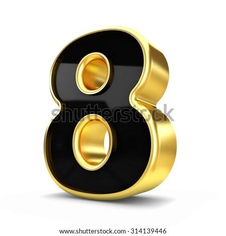 3d gold and black metal number 8 isolated white background - stock photo