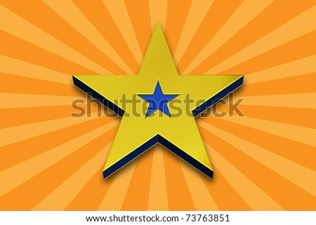 3D Gold and Blue Star on a Yellow Background - stock photo
