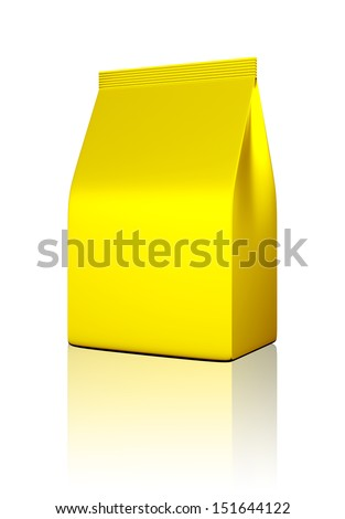 3D Gold bag package on a white background, isolated - stock photo