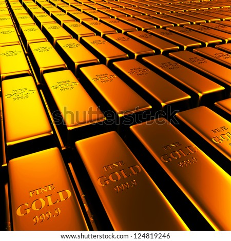 3D Gold Bars - stock photo