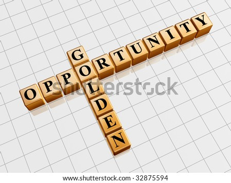 3d gold cubes with black letters like crossword with text - golden opportunity
