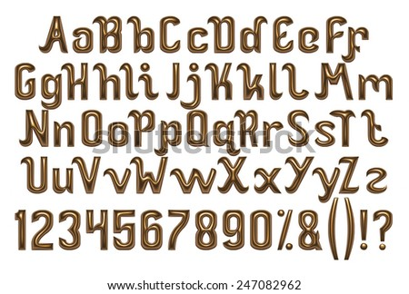 3D Gold font, full alphabet with digit numbers on white background. - stock photo