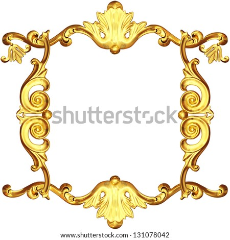 3d gold frame on a white background