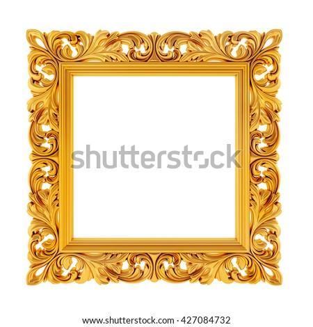 3d gold frame on white background - stock photo