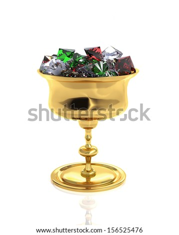 3d gold goblet full of dianonds, emerald and ruby - stock photo