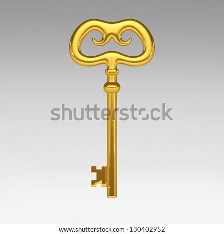 3d gold key - stock photo
