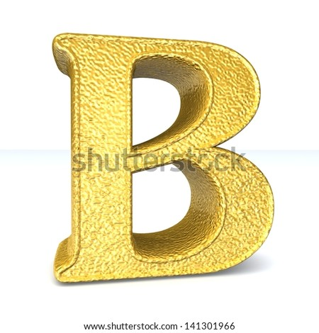 3d GOLD letter B. One letter alphabet isolated on white. Design concept