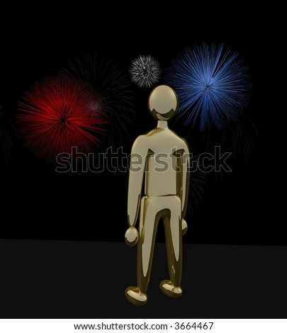 3D Gold Man watching red, white and blue fireworks display - stock photo
