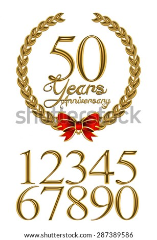 3D Gold Metallic 50 Years Anniversary message emblem with digit on isolated white background. - stock photo