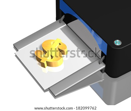 3D gold money symbol on tray with printer - stock photo