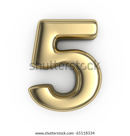 3d Gold numbers - number 5 - stock photo
