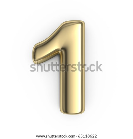 3d Gold numbers - number 1 - stock photo