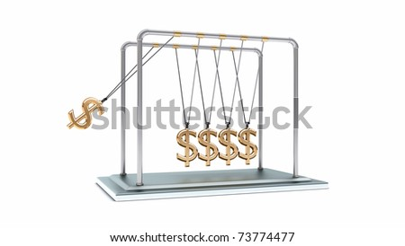 3D gold pendulum newton dollars isolated with clipping path - stock photo
