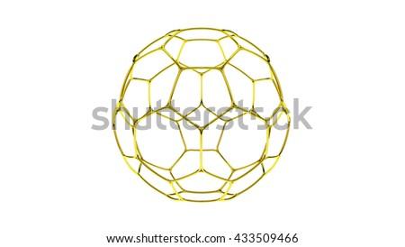 3d gold Soccer ball  on white background,3d football structure on the white background,3d rendering,football sport,Soccer Ball, Soccer, Cut Out - stock photo