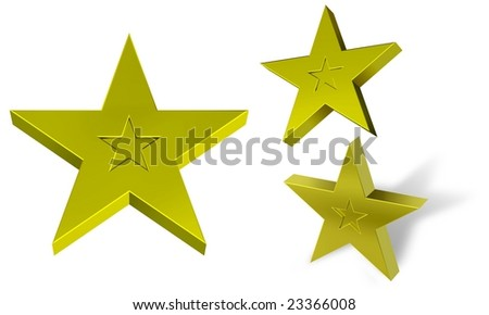 3d gold star silhouetted on a white background - stock photo