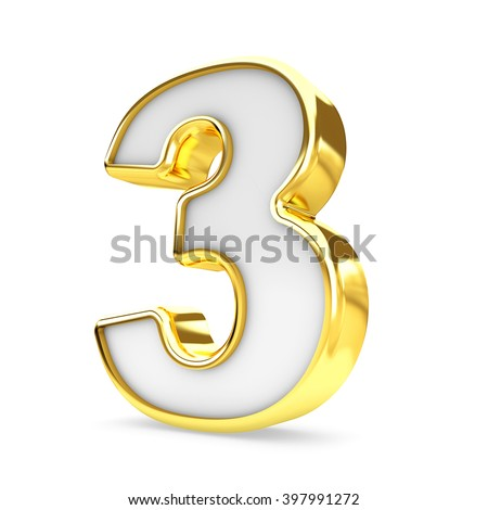 3d gold - white number 3 three isolated white background.