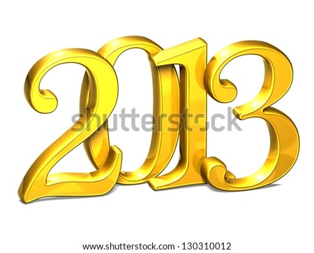 3D Gold Year 2013 on white background - stock photo