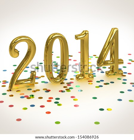 3D Gold Year 2014 on white background with confetti - stock photo