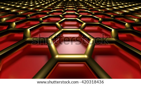 3D golden abstract cellular lattice on a red background - stock photo