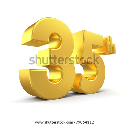 3d golden anniversary - 35th, isolated on white background