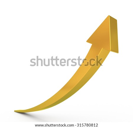 3D golden arrow - stock photo
