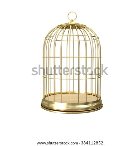3d golden birdcage on white background - stock photo