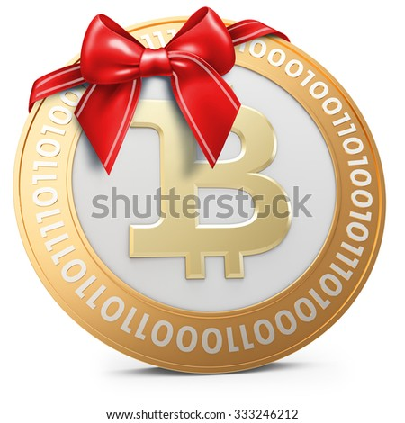 3d golden Bitcoin coin with red bow on white background - stock photo