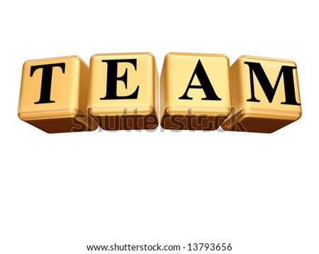 3d golden boxes with black letters, text - team, isolated - stock photo