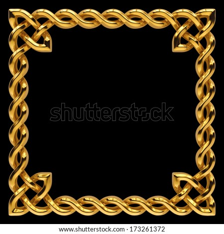 3d golden Celtic frame design, keltic ornamental border isolated on black - stock photo