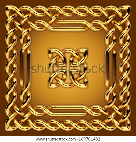 3d golden  Celtic twisted design elements set - stock photo