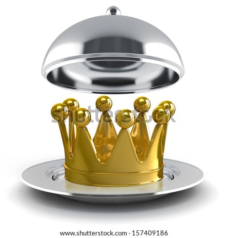 3d golden crown on silver plate - stock photo