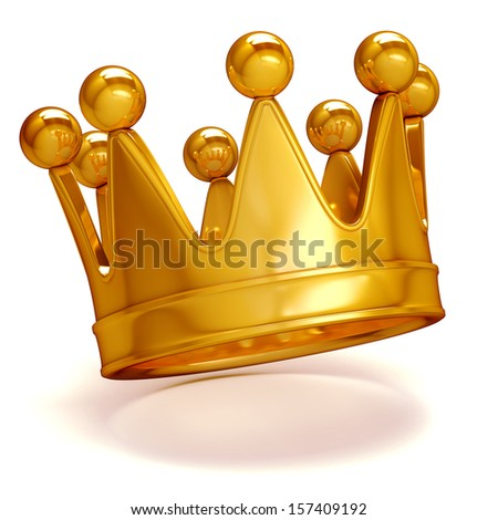 3d golden crown on white background - stock photo