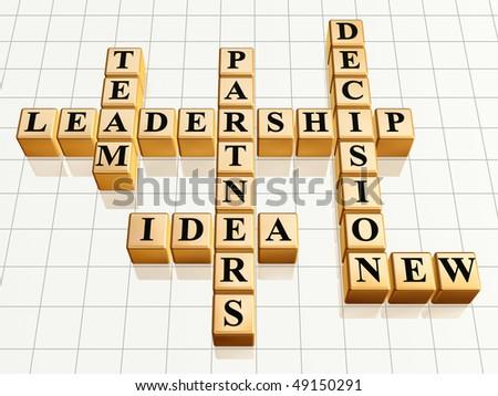 3d golden cubes like crossword - leadership, team, partners, idea, decision, new - stock photo