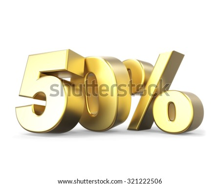 3D golden discount collection - 50% - stock photo