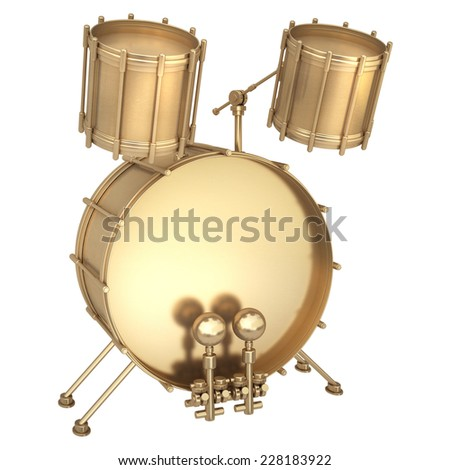3d Golden drum instrument isolated on white background. High resolution  - stock photo