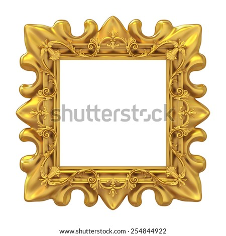 3d golden frame for picture on white background - stock photo