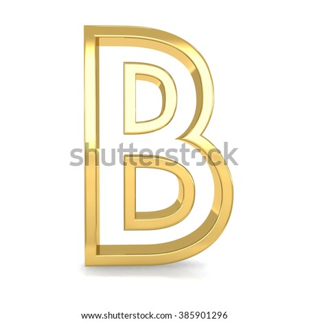 3d golden frame letter B rendering with gold metal empty line alphabet  - stock photo