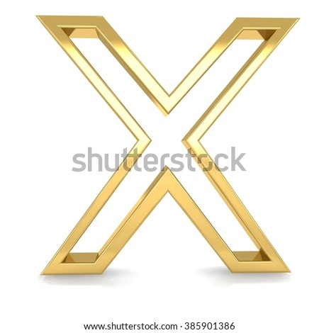 3d golden frame letter x rendering with gold metal empty line alphabet  - stock photo